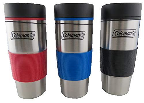 COLEMAN M-16884 Plain Ss Travel Mug 16Oz, 16, Blue, Red, Black