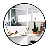 Elevens Wall Round Mirror - Popular 32 Inch Round Wall Mounted Decorative Mirror - Metal Frame, Best for Vanity Washrooms Bathroom and Living Rooms- Black