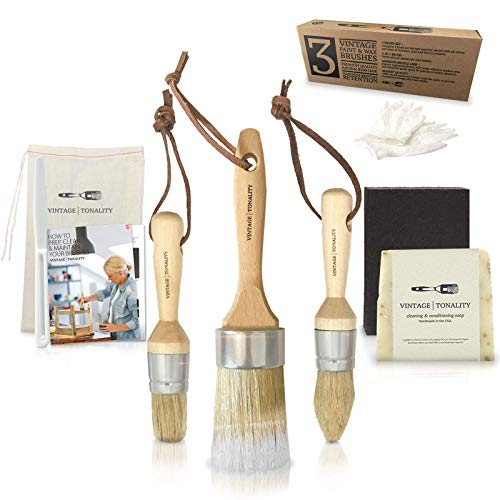 Pro Chalk & Wax Brush Set for Painting Furniture 3 Paint Brushes, Milk Paint, Clear Wax Art Home Decor Large & Small Natural Boar Hair Bristles Round, Oval, Flat Bristle Head by Vintage Tonality