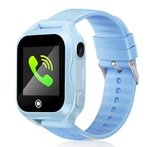 Smart Watch for Kids IP67 Waterproof Kids Smart Watch for Girls Boys with GPS Tracker SOS Camera Game 1.44 inch Touch Screen Sport Fitness Tracker Smart Watch (Blue)