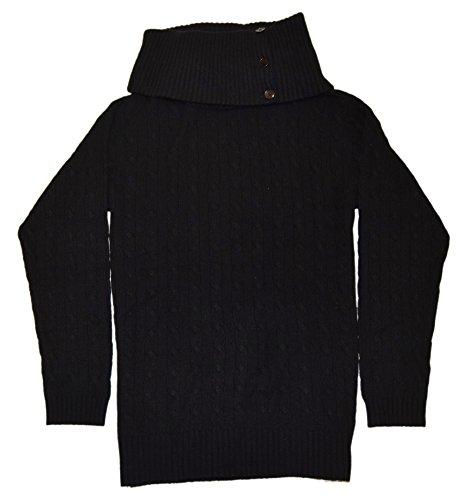 91jc5VwIcSL Polo Ralph Lauren-Black Label 100% Cashmere Button Turtleneck, Long Sleeves