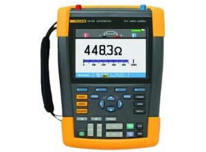 Fluke ScopeMeter 190 Series Handheld Digital Oscilloscope and Digital Multimeter with Recorder Function, Two Channels, Color LCD