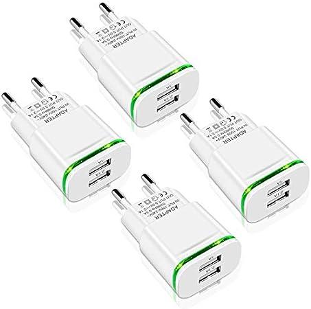 LUOATIP Chargeur Prise USB Secteur, 4-Pack 2.1A 5V 2 Ports Adaptateur Secteur Universel LED Compatible avec iPhone 11 XR X XS Max 8 7 6 6S Plus 5S, Samsung Galaxy/Note, iPad, Xiaomi Telephone