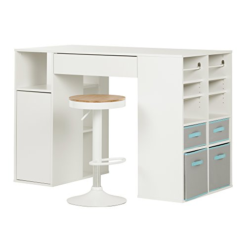South Shore Crea Counter-Height Craft Table with Scratchproof Surface and Interchangeable Modules - 4 baskets included, White