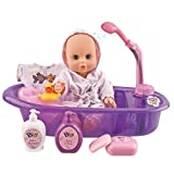 Liberty Imports Little Baby 13' Bathtime Doll Bath Set | Real Working Bathtub with Detachable Shower Spray for Kids Play