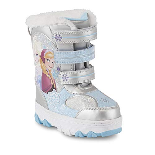 Disney Girls' Frozen Silver and Blue Snow Boot (11 - Toddler/Youth)