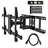 "PERLESMITH Full Motion TV Wall Mount for Most 37-70 Inch TVs up to 132lbs - Fits 16"", 18"", 24"" Wood Studs - Articulating TV Mount Dual Arms with Tilts, Swivels & Extends 16"", Max VESA 600x400mm"