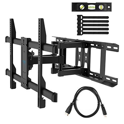 PERLESMITH Full Motion TV Wall Mount for Most 37-70 Inch TVs up to 132lbs - Fits 16', 18', 24' Wood Studs - Articulating TV Mount Dual Arms with Tilts, Swivels & Extends 16', Max VESA 600x400mm