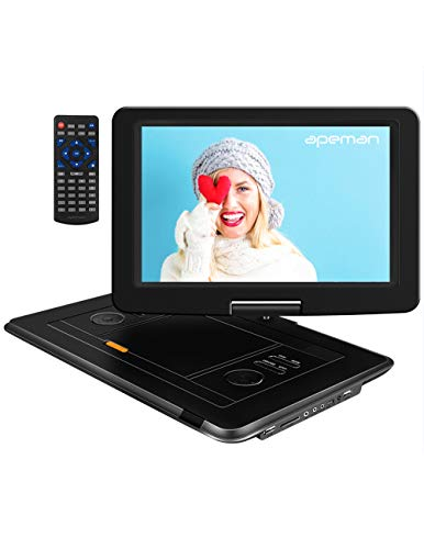 APEMAN 15'' Portable DVD Player with Swivel Screen Remote Control Support SD Card USB DVD AV in/Out Earphone Speaker 6 Hours Built-in Rechargeable Battery for TV Kids Car Travel Companion
