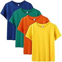 "LAPASA Basics - Pack of 4 Pure 100 Non-Allergenic Cotton T-Shirts for Boy & Girl, Short Sleeve (Unisex Tees) K01 (Group D (Orange, Yellow, Green, Deep Blue), 10-11 Years Old (Chest 16.5""))"