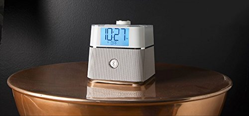 Brandstand BPEBLW CubieBlue White Charging Alarm Clock with Bluetooth Speaker - USB & Power Outlets