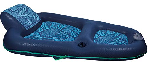 Aqua Luxury Water Lounge, X-Large, Inflatable Pool Float with Headrest/Backrest & Footrest, Navy