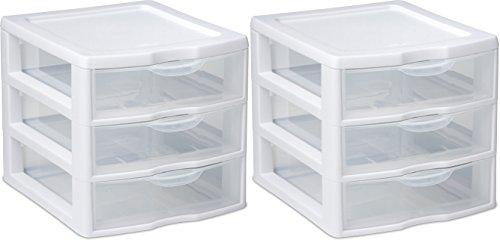 STERILITE Organizer Mini 3 Drawer Wht Sm (Pack of 2)