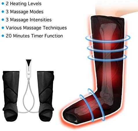 QUINEAR Leg Massager with Heat Air Compression Massage for Foot & Calf Helpful for Circulation and Muscles Relaxation