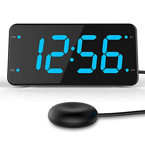 Dual Alarm Digital Clock with Pillow Bed Shaker, Extra Loud Alarm Clock for Heavy Sleepers, Easy-Setting Clock with USB Charger - Ocean Blue