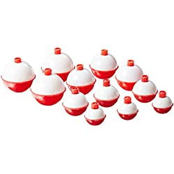 Eagle Claw 07030-001 Snap-On Round Floats, Red/White, Assorted Sizes (Per 12)