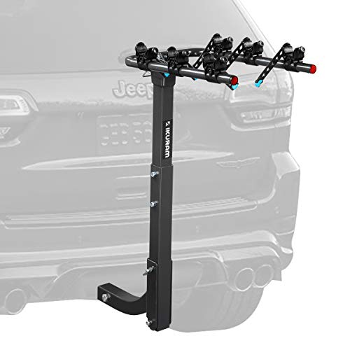 IKURAM 3 Bike Rack Bicycle Carrier Racks Hitch Mount Double Foldable Rack for Cars, Trucks, SUV's and minivans with a 2' Hitch Receiver