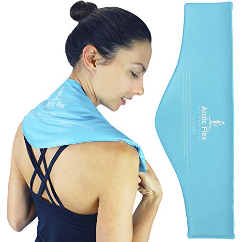 Arctic Flex Neck Ice Pack - Cold Compress Shoulder Therapy Wrap - Cool, Reusable Medical Freezer Gel Pad for Swelling, Injuries, Headache, Cooler - Flexible Hot Microwaveable Heat - Men, Women