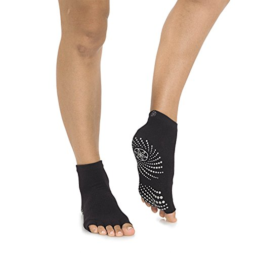 Gaiam 05-62005 Grippy Toeless Yoga Socks, Small/Medium, Granite Storm