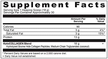 Ancient Nutrition KetoCOLLAGEN Powder, Keto Diet Supplement, Types I and III Collagen Plus Coconut MCTs, Pure Flavor, 30 Servings, 19 oz 2