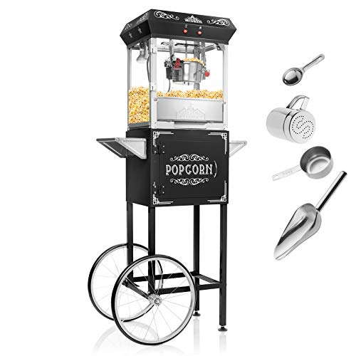 Olde Midway Vintage Style Popcorn Machine Maker Popper with Cart and 6-Ounce Kettle - Black