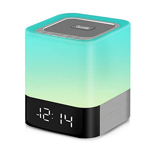 Celcube Nightlight Bluetooth Speaker, LED Dimmable Bedside Sensor Touch Lamp, Wireless Speaker with Color Changing Light and Alarm Clock, TF Card and AUX Supported, Gift for Men Women Children Kids