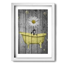 """Ale-art Rustic Picture Frame Bathroom Wall Art Daisy Flower Bubbles Yellow Gray Vintage Rustic Bath Wall Art Ready to Hang for Wall Decor 9"""" X 13"""""""