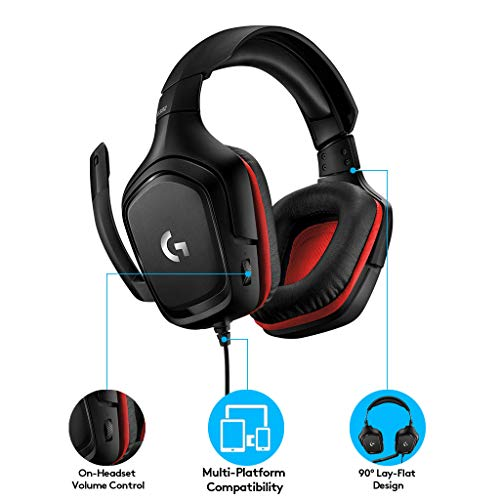 41eVOyAb7jL - Logitech G332 Stereo Gaming Headset 6 mm Flip-to-Mute Mic for PlayStation 4, Xbox One and Nintendo Switch
