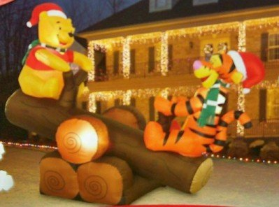 Disney Christmas 5 Winnie The Pooh Tigger Log Teeter Totter Animated Airn Inflatable By