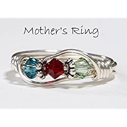 3 stone Mother's Birthstone Ring