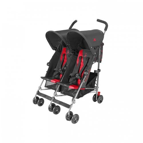 Maclaren Twin Triumph Double Stroller - Charcoal/Scarlet