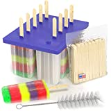 American Ice Pop Maker - Frozen Popsicle Mold - Set of 10 BPA Free Plastic Molds + 50 Wood Sticks & Cleaning Brush (Classic-10, Blue)