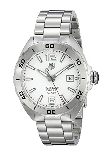41eaQLXOlDL Brushed stainless steel watch featuring white dial with logo, date window, and luminous hands/indicies 40 mm stainless steel case with synthetic sapphire dial window Automatic self-wind movement with analog display
