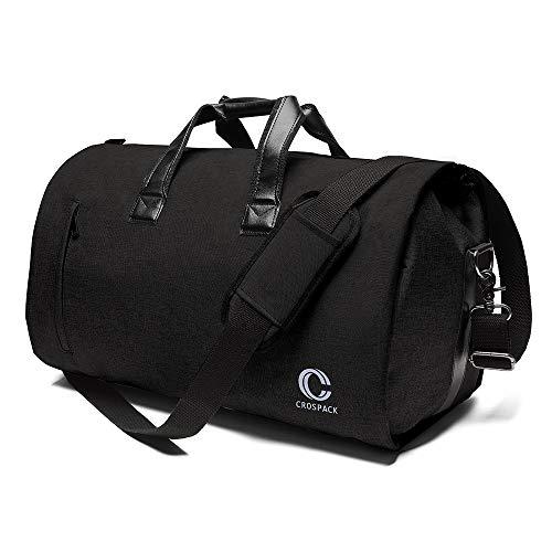 Crospack Business Travel Duffle Bag Garment Bag 55L Super Capacity Crazy Horse Leather Travel Bag for Men and Momen Flight Bag Weekender Travel Suit Bag