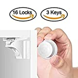 DLD - Child Safety Magnet Locks ((16 Locks + 3 Keys), Best Baby Proofing Lock for Kitchen Cabinet, Drawer, Cupboard - No Tool or Drill with 3M Adhesive, Cabinets Door Locking, Magnetic Latches Kit
