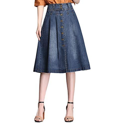 1e85ef2c9710 Nantersan Womens Button Front Midi Denim Jean Skirts High Waist A-Line  Flare Pleated Chic