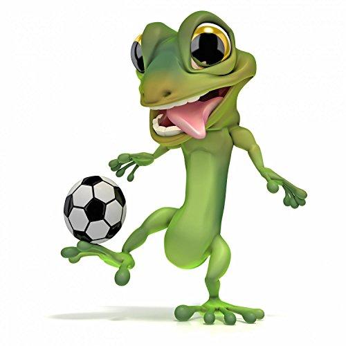 Wallmonkeys Gecko Kicking Soccer Ball Peel and Stick Wall Decals WM55566 (24 in H x 24 in W)