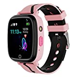 Kids Smart Watch GPS Tracker - Waterproof GPS Tracker Watch for Children Girls Boys with SOS Call Camera Touch Screen Game Alarm for Kids Boys and Girls (Pink)