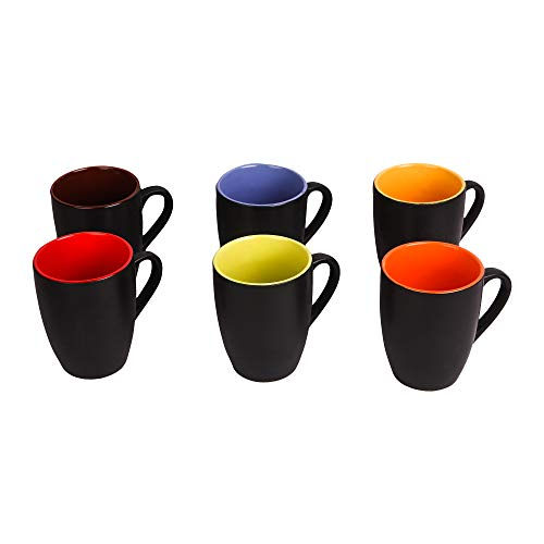 41eftYCsMvL - B37 Apollo Series Ceramic Coffee Mugs - 6 Pieces, Matt Black (Inner Color May Vary)