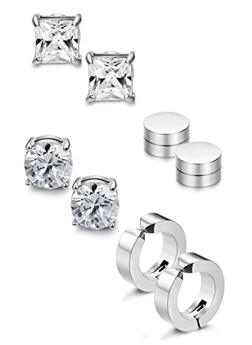 Jstyle 4 Pairs Stainless Steel Stud Earrings for Men Women Magnetic Stud Earrings Non-piercing CZ 6MM