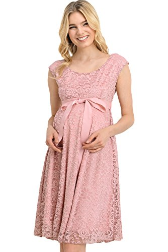 d8e175af376 Hello Miz Floral Lace Baby Shower Party Cocktail Dress with Satin Waist Maternity  Dress (X-Large