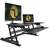 Standing Desk Converter with Height Adjustable – FEZIBO Sit to Stand up Desk Riser 36' Black Computer Workstation Dual Monitor Desktop Lifter