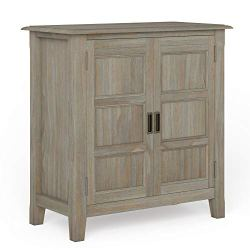Simpli Home Burlington Low Storage Cabinets, Distressed Grey