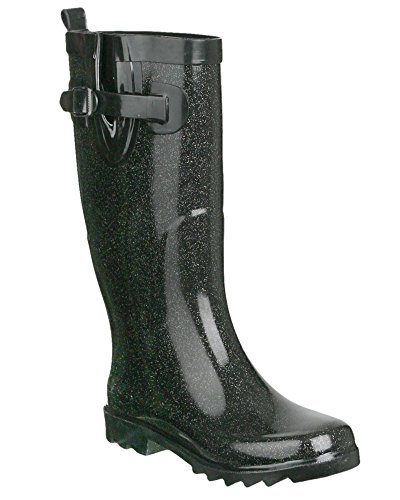 Capelli New York Ladies Tall Rubber Rain Boot Allover Glitter Black 6
