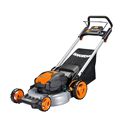 "WORX WG774 Intellicut 56V Cordless 20"" Lawn Mower with Mulching Capabilities, Orange and Black"