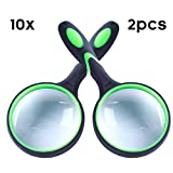IAMGlobal 10X Magnifying Glass, Handheld Reading Magnifier, 75mm Magnifying Glass Lens, Thickened Rubbery Frame with Non-Slip Soft Handle for Newspaper Reading, Insect, Science for Seniors Kids(2 Pc)