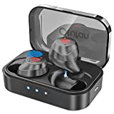 Bluetooth Earbuds Wireless Earbuds Bluetooth Headphones iPX7 Waterproof 3D Stereo HiFi Sound Wireless Earphones Bluetooth Headset with Charging Case (Black)
