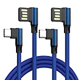 New Elbow Type C Cable 10ft 2Pack, 90 Degree Angled USB C Cable Double Side High Speed Data Sync Fast Charging Cords Compatible Samsung Galaxy S9 S8 Plus Note 9 8,LG G6 V30,Google Pixel,Blue