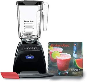 Blendtec C575A2301A-A1AP1D1 4 Pre-programmed Cycles-5-Speeds Classic 575 Blender-WildSide+ Jar (90 oz), Recipe Book, and Spoonula Spatula BUNDLE-Professional-Grade Power-Self-Cleaning, Black