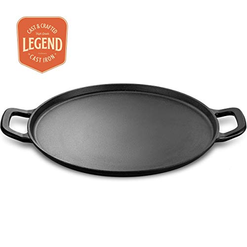 Legend Cast Iron Pizza Pan | 14' Steel Pizza Cooker with Easy Grip Handles | Deep Stone for Oven or Griddle for Gas, Induction, Sauteing, Grilling | Lightly Pre-Seasoned Cookware Gets Better with Use